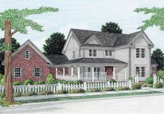 Plan Traditional, Corner Lot, Country, Farmhouse House Plans & Home Designs The Plan, How To Plan, Southern House Plans, Country House Plans, Country Homes, Country Porches, Southern Porches, Southern Homes, Country Farmhouse Decor