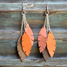 Handmade leather earrings from thailand #135