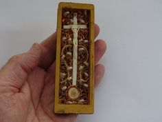 c3800d1b63532 First class religious antique French with cross crucifix of bone and wax  medal Agnus Dei and relics shrines reliquaries of 22 Saints. ( 2 )