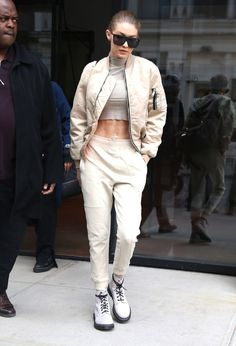 Gigi Hadid offered the ultimate wardrobe palette cleanser in the winter white tracksuit.
