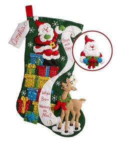 Bucilla The List Christmas Stocking Felt Applique Kit. Festive designs, quality materials and generous embellishments continue to make Bucilla felt stockings a Felt Stocking Kit, Christmas Stocking Kits, Felt Christmas Stockings, Stocking Ideas, Christmas Presents, Santa Ornaments, Felt Christmas Ornaments, Christmas Crafts, Christmas Skirt