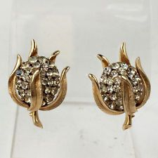 Gold plated Flower Bud shape with white rhinestones ear clips, signed... Lot 34C