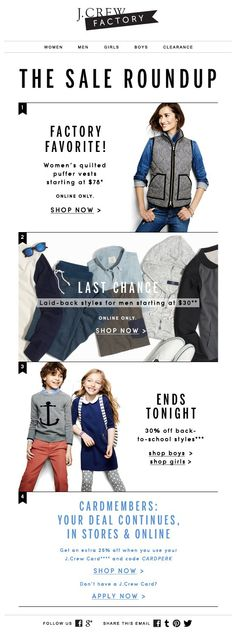 J.CREW : Top Products / Promotions