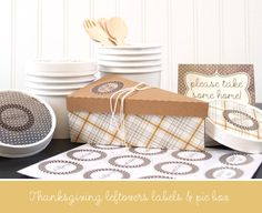 Free cutting file shape of the week for November 19, 2013 - Thanksgiving Leftovers Pie Box & Labels #Silhouette #CutFile