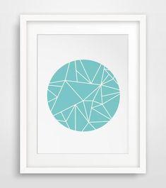 Minimal Art, Scandinavian Design, Retro Wall Prints, Digital Download, Modern Poster, Art Print, Turquoise Decor, Blue Prints, Geometrical by MelindaWoodDesigns
