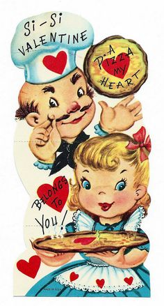 """Vintage Valentines Day Card """"SI SI Valentine A Pizza My Heart Belongs to You. My Funny Valentine, Valentine Pizza, Valentine Images, Valentines Day Wishes, Valentines Greetings, Vintage Valentine Cards, Little Valentine, Vintage Greeting Cards, Valentine Day Crafts"""