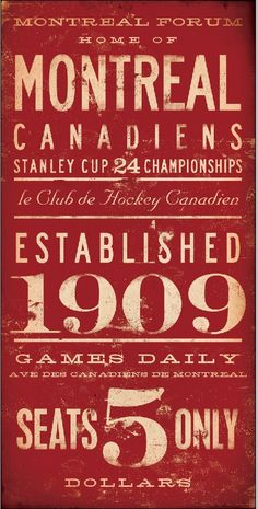 Montreal Canadiens hockey club original graphic art on canvas 10 x 20 by stephen fowler