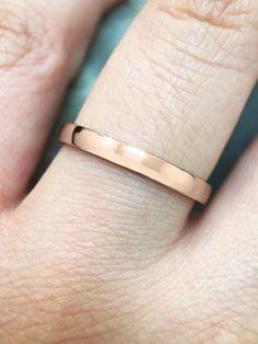 2.7MM Polished Wedding Band Solid 14K Rose Gold by stonesandgold