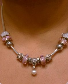 How I'm wearing my Pandora necklace. So feminine. Pink and pearls