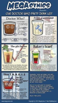 bunnylafee:    Dr. Who drinks: should I ever host a sci-fi themed party...