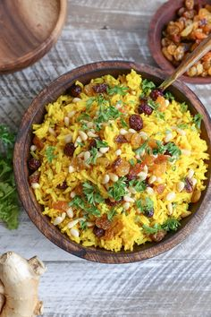 Ginger Turmeric Aromatic Rice - a unique and delicious Middle Eastern rice side dish perfect to go alongside your favorite entrees. Rice Recipes, Indian Food Recipes, Vegetarian Recipes, Cooking Recipes, Healthy Recipes, Ethnic Recipes, Healthy Dinners, Vegetable Recipes, Healthy Foods