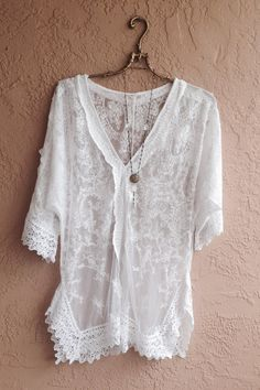 Sheer lace embroidered Bohemian tunic with crochet por BohoAngels