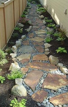 Stunning Front Yard Rock Garden Landscaping Ideas - Designing a front yard is usually about accessibility and invitation. We spend hardly any time in the front yard as opposed to the backyard, but it is. Decorative Rock Landscaping, Side Yard Landscaping, Acreage Landscaping, Backyard Walkway, Patio Pergola, Pergola Design, Landscaping With Rocks, Landscaping Ideas, Privacy Landscaping