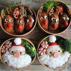 #デコ弁 ・#キャラ弁 が苦手でも大丈夫!#クリスマス を楽しむためのアイデアお弁当 | #おうちごはん Christmas Goodies, Christmas Ornaments, Cute Bento Boxes, Tis The Season, Japanese Food, Food Art, Crafts For Kids, Lunch Box, Holiday Decor