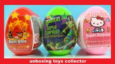 New Angry Birds Big Funtoys Surprise Eggs Ninja Turtles Hello Kitty Huev...