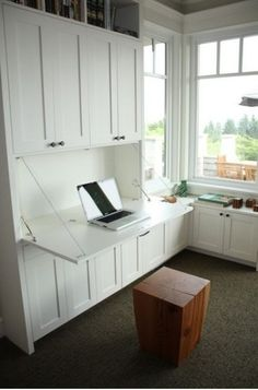 Fitted alcove study desk,with flip down desk
