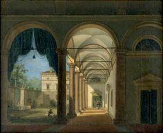 Tranquillo Orsi, Porticato rinascimentale, 1820 - 1830, olio su tela / Tranquillo Orsi, Renaissance Porch, 1820 - 1830, oil painting on canvas, Gorizia, Palazzo Coronini Cronberg, inv. 511