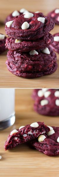 Soft, chewy Red Velvet Chocolate Chip Cookies. With a delicate hint of cocoa & oozing with melted chocolate chips - they're perfectly festive!