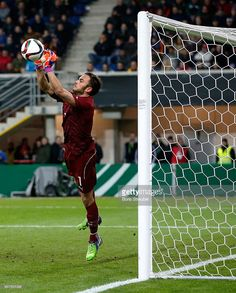Goalkeeper Francesco Bardi of Italy Saves the ball during the U21 International friendly match...