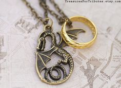 The Hobbit Necklace Smaug the Dragon by TreasuresForTributes, $32.00