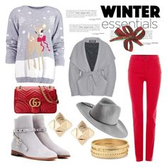 """""""Christmas Sweater"""" by hastypudding ❤ liked on Polyvore featuring Boohoo, Armani Jeans, Valentino, Chico's, Balmain, Gucci and Emilio Pucci"""