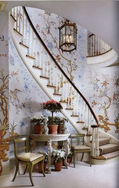Custom hand-painted panels envelop the foyer walls around this winding staircase. Stair Walls, Stairs, Gracie Wallpaper, Hotel Lounge, Chinoiserie Wallpaper, My Ideal Home, Interior Decorating, Interior Design, Design Interiors