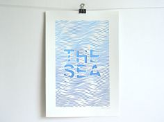 The Sea, handmade abstract papercut poster, white, blue, A4
