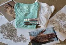 Supplies ot make DIY Henna inspired tee shirts using Tee Juice Pens
