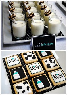 Cookies and milk from Milkaholic Sip & See Baby Shower. See this refreshed party on our Flashback Friday at karaspartyideas.com