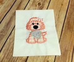 Pink Poodle with Glitter Heart   Baby by CountryHeartDesignz