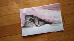 Piccolo formato, gatto, acquerello e matita