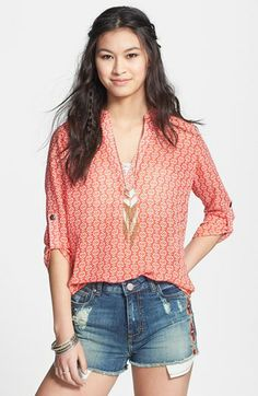 Definitely MY Style - Lush Roll Tab Sleeve Woven Shirt (Juniors) available at Summer Outfits, Cute Outfits, Summer Clothes, Love Fashion, Fashion Outfits, Womens Fashion, Plus Size Jeans, Cute Shirts, Casual Tops