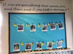 Classroom photo board at Springmead School, Beckington, Somerset.