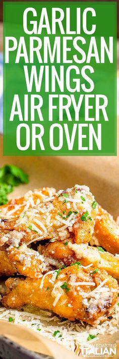 air fryer chicken wings Chicken Recipes At Home, Recipe Using Chicken, Turkey Recipes, Slow Cooker Recipes, Cooking Recipes, Garlic Parmesan Wings, The Slow Roasted Italian, Air Fryer Recipes, Chicken Wings