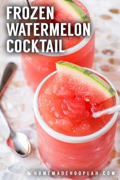 Frozen Watermelon Cocktail! This frozen cocktail is made with juicy watermelon and flavored with hints of grapefruit, citrus, and rosé wine. A cooling drink for the late summer heat! | HomemadeHooplah.com