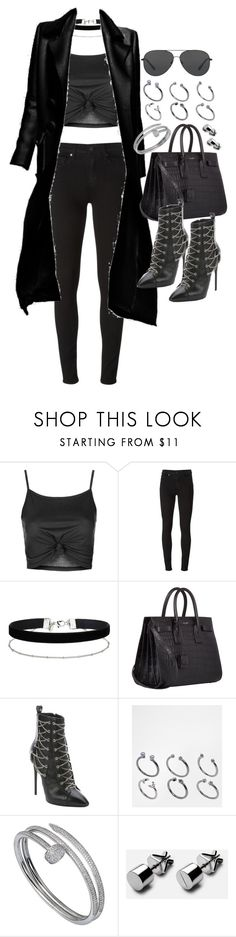 """Untitled #20167"" by florencia95 ❤ liked on Polyvore featuring Topshop, Paige Denim, Miss Selfridge, Yves Saint Laurent, Giuseppe Zanotti, ASOS, Cartier and Michael Kors"