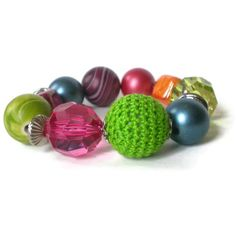 chunky beaded bracelet acrylic ceramic textile beads by jcudesigns, £8.00