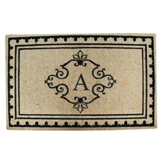 A1HC First Impression Handcrafted 30-Inch X 48-Inch Artistic Border Anti Shred Treated Non Skid Monogrammed Doormat (monogram