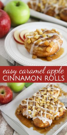 Caramel Apple Cinnamon Rolls are a twist on caramel pecan rolls, with fresh apples instead of nuts. They're made easy with frozen cinnamon rolls so half the work is done for you! A great breakfast or dessert in the Fall, on holidays, or the weekend. Caramel Apple Sauce, Caramel Pecan, Caramel Apples, Apple Cinnamon Rolls, Pecan Rolls, Cinnamon Apples, Banana Bread Recipes, Apple Recipes, Fall Recipes