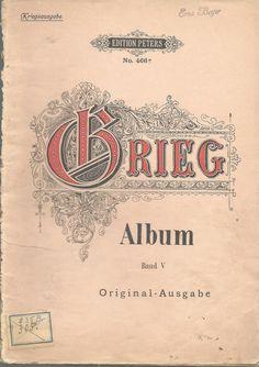 Album 12 Songs Edvard Grieg German English Lyrics Song Book Vintage