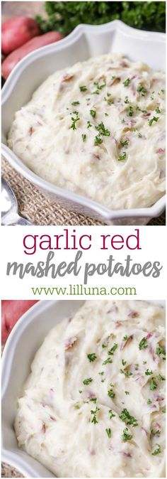 Red Mashed Potatoes Garlic Red Mashed Potatoes - creamy, flavorful potatoes perfect as a side dish with any meal!Garlic Red Mashed Potatoes - creamy, flavorful potatoes perfect as a side dish with any meal! I Love Food, Good Food, Yummy Food, Healthy Food, Tasty, Garlic Red Mashed Potatoes, Cheesy Potatoes, Baked Potatoes, Meals With Mashed Potatoes