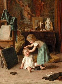 A Touch of -Pampering by Theophile Emmanuel Duverger (1821-1901, French)