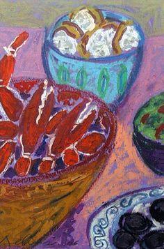"crab dinner - oil pastel 9""x12"" $75"