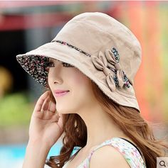 3f8732a1d12 Wide brim bow bucket hat for women UV summer wear