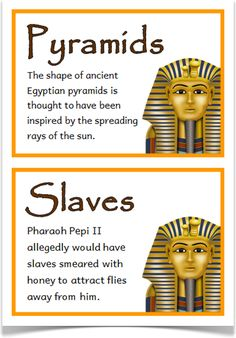 Ancient Egypt Fact Cards - Treetop Displays - A set of 24 fact cards that give fun and interesting facts about ancient Egypt. Each fact card has a key word heading, making this set an excellent topic word bank as well! Visit our website for more inform Facts About Ancient Egypt, Ancient Egypt For Kids, Fun Facts About Egypt, Ancient Egypt Lessons, Ancient Egypt Crafts, Ancient Aliens, Ancient Greece, Ks2 Classroom, Classroom Displays