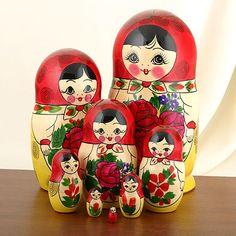 """POUPEE RUSSE Traditionnel MATRIOCHKA """"SEMENOV"""" 7 pièces"""