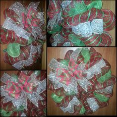 Red with green stripe mesh with gold ribbon and a red/green bow Christmas Wreath.