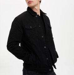 Jacheta din denim cu garnitura de blana shearling sintetica