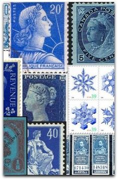 blue - old stamps
