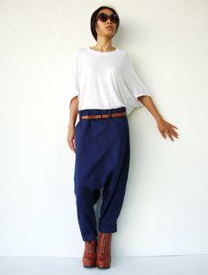 NO.106  Navy Blue Cotton Fashion Drop Crotch Casual Harem Pants Cool Unique Crop Trousers